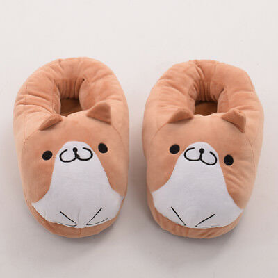 Cute Girls' Corgi Plush Home Slipper Women's Cartoon Dog Winter Warm Shoes