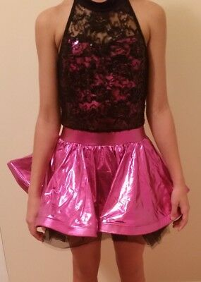 Dance Costume Large Child Pink black lace halloween Ballet Competition Pageant