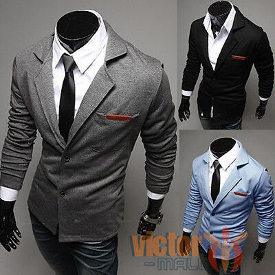AU Mens Suit Jacket Slim Fit Blazer Two Button Coat Casual Formal Business Parka