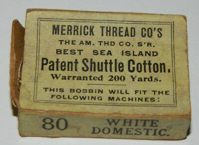 Vintage Antique Merrick Thread Co's Best Sea Island Patent Shuttle Cotton Box