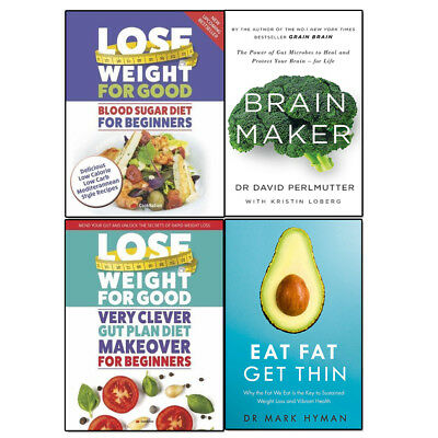 Eat Fat Get Thin, Brain Maker, Blood Sugar Diet, Gut Plan Diet 4 Books Set Pack