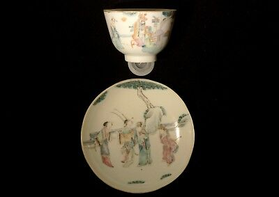 Tungzhi Famille Rose Tea Cup and Saucer - China - 19 c