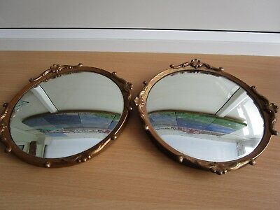 Pair of Vintage 1960's Gold/Gilt Rococo Style Round Convex Mirrors