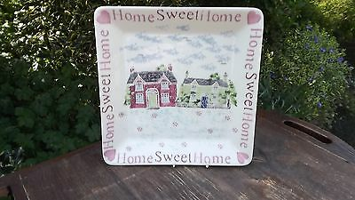 Irish Eden Pottery Large Home Sweet Home sponge ware Square Plate