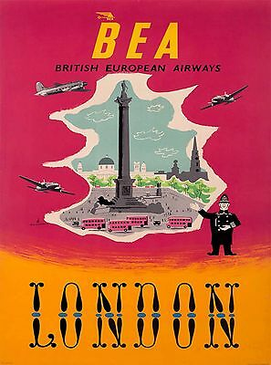 BEA London England Great Britain Vintage Airline Travel Advertisement Poster