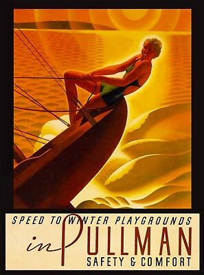Speed to Winter Playgrounds Pullman 2 United States Travel Advertisement Poster