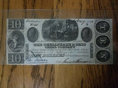"1840 $10 ""Six Month"" - The Chesapeake & Ohio Canal Co. - Washington, DC, 23.2.9"