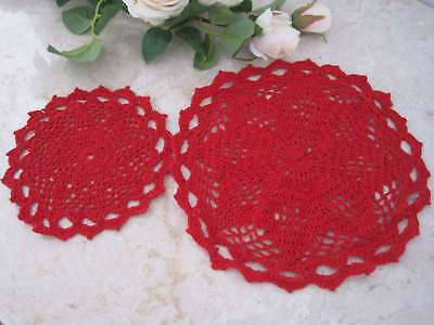Two Pretty Matching Red Hand Floral Crochet Cotton Round Doily