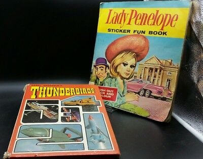 Thunderbirds annual 1968 and lady penelope sticker fun book. Used.