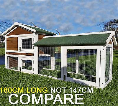 Large  Brown Rabbit Hutch Guinea Pig Hutches Run 2 Tier Double Decker Cage