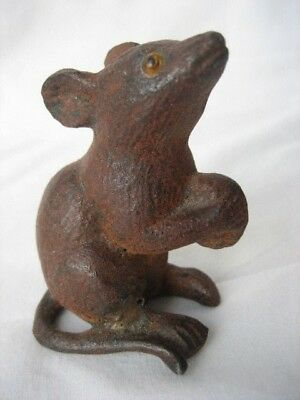 "Vintage Brass Bronze Mouse Holding Nut Glass Eyes  2.5""H  250gms  Paperweight"
