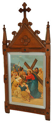 Large Antique French Gothic, Station of the Cross No. 8 or Gothic Frame, Art