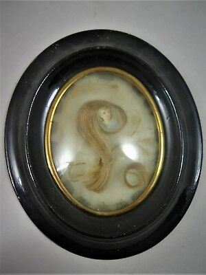 Antique French Rare  Hair Mourning  Art in Oval  Wood Frame 1880's