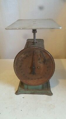 Vintage Metal American Family ? Scale 25 LB Kitchen Counter Top Green/Distressed