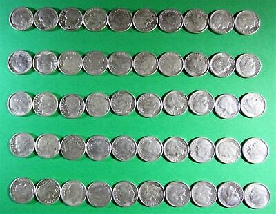 1964 D Roosevelt Silver Dime Circulated Roll of 50 coins