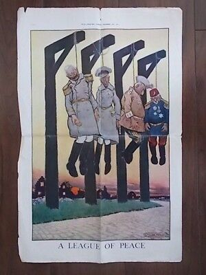 ORIGINAL WWI PROPAGANDA POSTER By STANGER PRITCHARD 1917 - A LEAGUE OF PEACE