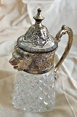 Vintage Price Import Creamer Pitcher Pressed Diamond Glass Lion Head Spout 6""