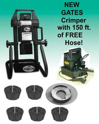 Gates Hydraulic Hose Crimper 4-20, 5 dies, Electric Pump, Portable, Adjustable G