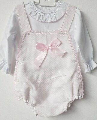 Spanish Style Baby Girl Pink Ribbon & Lace Dungaree Romper Set / Outfit.