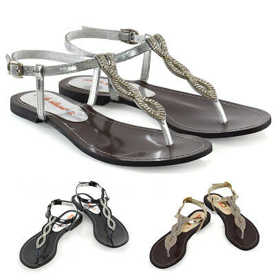 Womens Flat T-Bar Sparkly Sandals Ladies Rhinestones Holiday Toe Post Shoes Size