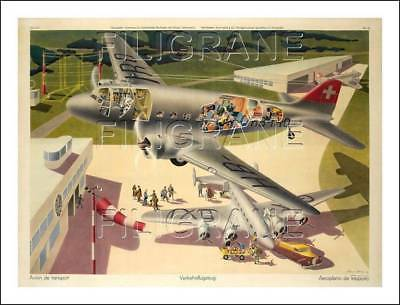 TIRAGE/REPRINT 40x60cm d'1 AFFICHE ANCIENNE : AVIATION, SWISSAIR, DC3