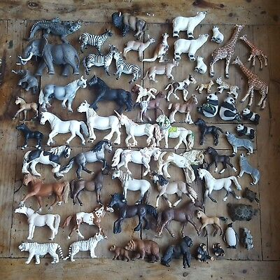 All REAL Schleich Lot- 64 animals - Horses and Wild Animals NO RESERVE