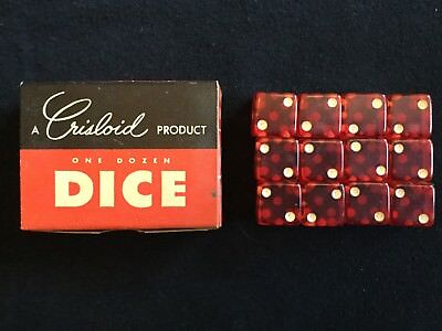 Vintage Crisloid One Dozen Red Dice in original box, made in USA