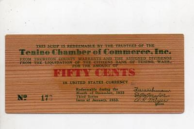 1933 Chamber of Commerce Tenino, Washington Fifty cents Wooden Depression Scrip
