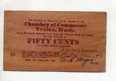 1932 Chamber of Commerce Tenino, Washington Fifty cents Wooden Depression Scrip