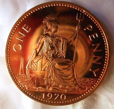 1970 GREAT BRITAIN PENNY - Great PROOF Coin - FREE SHIP - Britain Bin PR