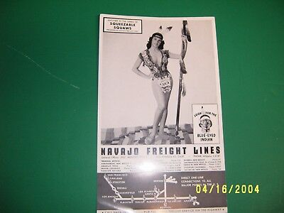 Navajo Freight Lines Truck Indian Pin Up Girl Advertising Sign Squeezable Squaw