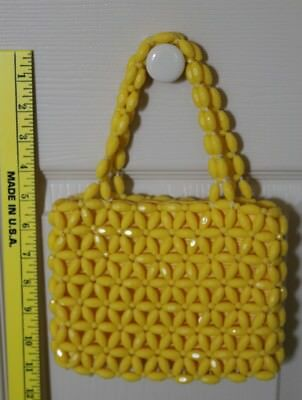 Vintage Barbara Lee Made in Italy Handbag Sunflower Yellow beads