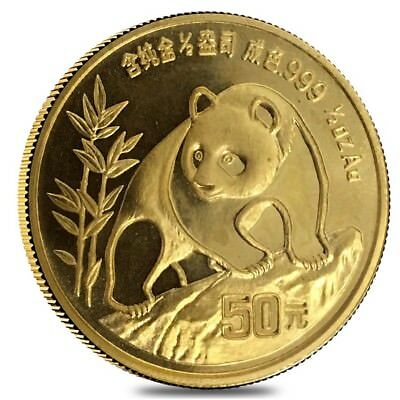 1990 1/2 oz Chinese Gold Panda 50 Yuan Large Date BU (Sealed)