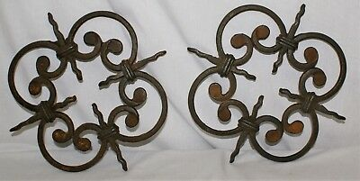Cast Iron Wall Art Sculpture Set Lot of 2 Ornate Vintage Gothic Look Rosette