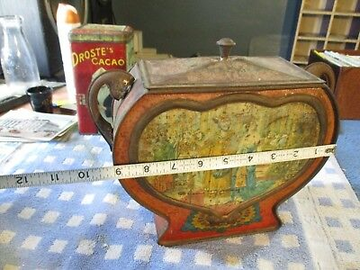 Rare Antique Biscuit Tin !!!!! Unique Shape, Very Old, Solid Tin, Faded Graphics