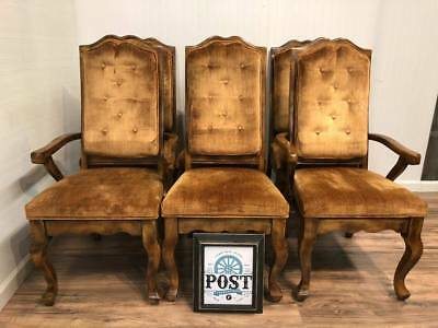 Six Vintage French Provincial Style Wood Light Brown / Orange Dining Chairs