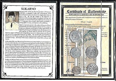 Sukarno,Indonesia Set Of 5 Coins And 5 Banknotes,,Album,Story Certificate