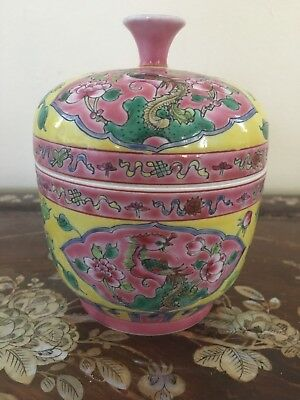 Small Asian Porcelain Container Signed on Bottom