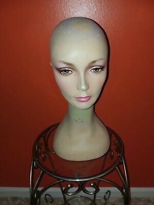 Vintage Fiberglass Female Mannequin Head  Wig Hat Jewelry Display