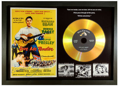 Elvis Presley 'love Me Tender' Signed Gold Disc Collectable Memorabilia Gift Blk