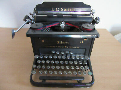 Antique LC Smith 8 Silent 11 Typewriter Black - Works!
