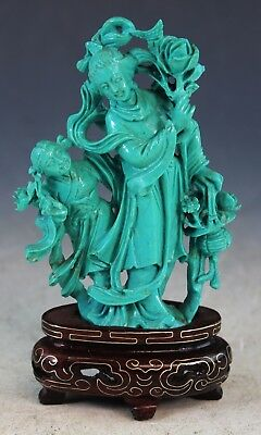 Vintage Chinese Carved Natural Turquoise Statue Of Lady & Boy w. Wood Stand