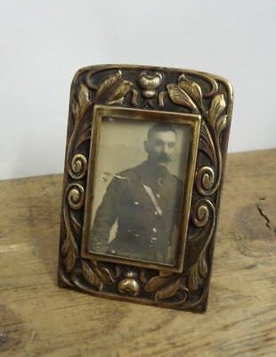 Lovely Small Antique Art Nouveau Picture Frame with Photograph of WW1 Officer
