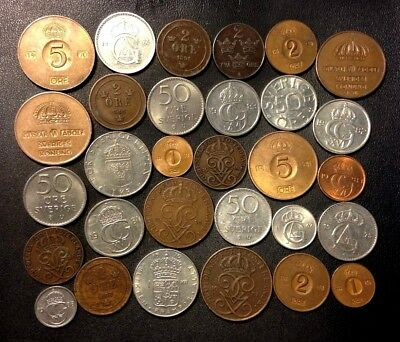 Vintage Sweden Coin Lot - 1890-PRESENT - 30 Great Coins - Lot #M20
