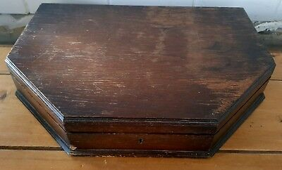 Large Empty Vintage Art Deco Wooden Oak Cutlery Canteen Box - Restore Or Upcycle