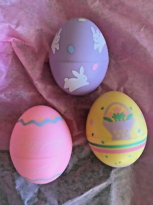 HALLMARK LOT OF 3 MERRY MINIATURE EASTER EGG CONTAINERS 1986 and 1989