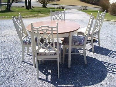 Vintage Faux Bamboo Hollywood Regency Chippendale Dining Table & Chairs W/leaf