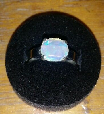 handcrafted crystal opal ring . 925 Stirling silver.  Opal solid , natural