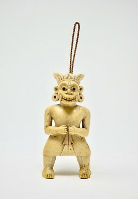 Vintage Tribal Native Carved Bone? Figure Ornament Hand Carved W/ Hanging Loop