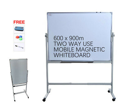 Mobile Magnetic WHITEBOARD  90 x 60 cm Office Marker stand White Board Free Gift